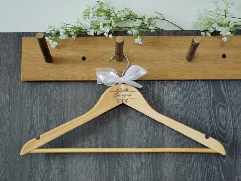 Personalised Wooden Wedding Bridal Dress Hanger Bride Bridesmaid Bow (D2)
